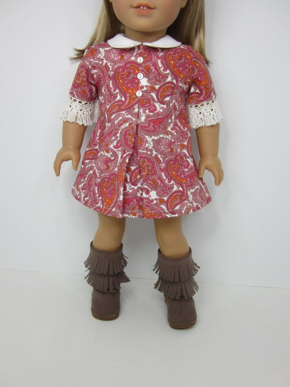 Short sleeved pink and orange paisley print a- line dress by JazzyDollDuds on Etsy. Made with the Abbey Road A- Line Dress pattern. Find it at http://www.pixiefaire.com/products/abbey-road-a-line-dress-18-doll-clothes. #pixiefaire #abbeyroadalinedress
