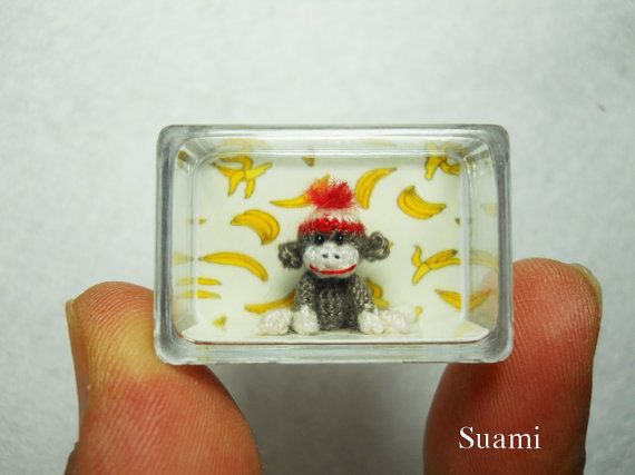 Tiniest Sock Monkey  Micro Crocheted Sock Monkeys   Made by SuAmi, $95.00