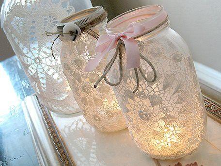 lace on mason jars
