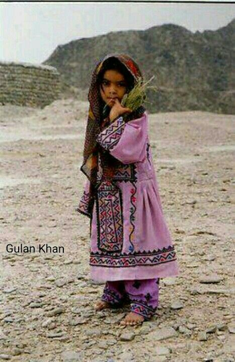Cute Balochi girl with traditional Balochi dress, Balochstan Pakistan