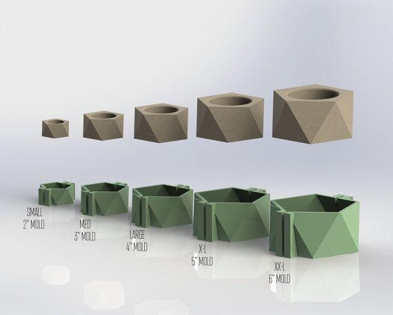 Icosaèdre Set moule plat - moules réutilisables - tailles S-XXL - maintenant disponible en 5 tailles!! Moule béton, planteur géométrique