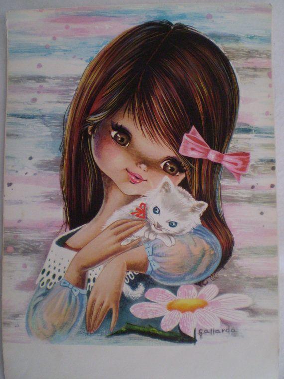 Gallarda Big Eyed Girl Postcard.....<3 <3