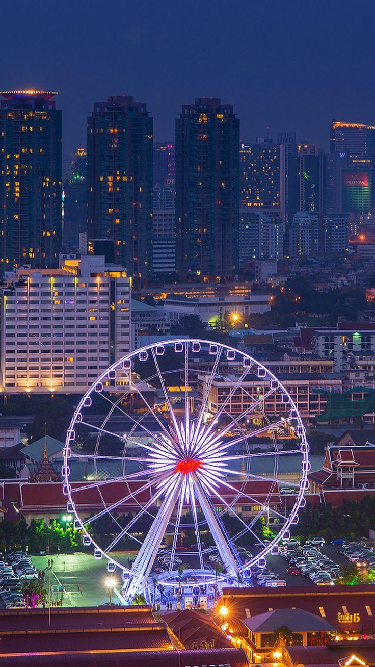 thailand, bangkok, capital, metropolis, night city, skyscrapers, river, houses, buildings, ferris wheel