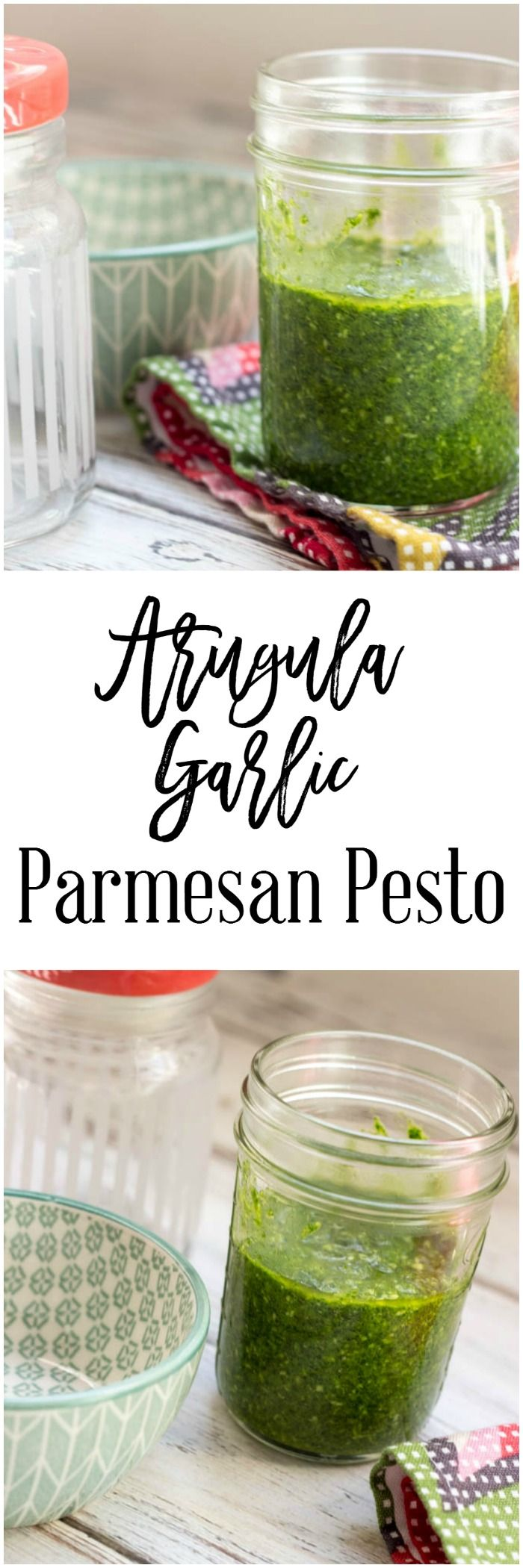 Arugula Garlic Parmesan Pesto - an easy side dish recipe that you can use for so many recipes. This pesto is easy to make and tastes amazing!
