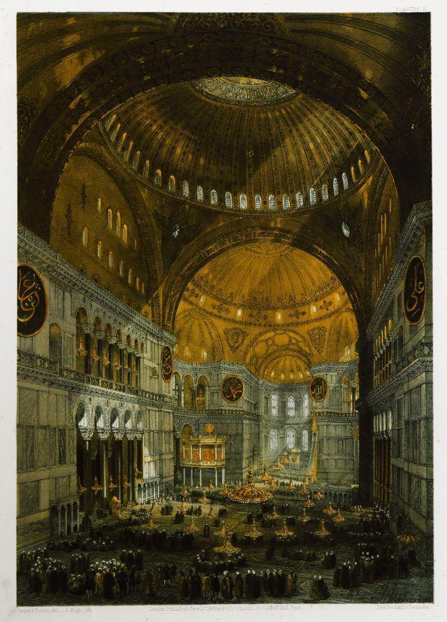 Άποψη προς τα ανατολικά του κεντρικού κλίτους της Αγίας Σοφίας στην Κωνσταντινούπολη. - FOSSATI, Gaspard - ME TO BΛΕΜΜΑ ΤΩΝ ΠΕΡΙΗΓΗΤΩΝ - Τόποι - Μνημεία - Άνθρωποι - Νοτιοανατολική Ευρώπη - Ανατολική Μεσόγειος - Ελλάδα - Μικρά Ασία - Νότιος Ιταλία, 15ος - 20ός αιώνας