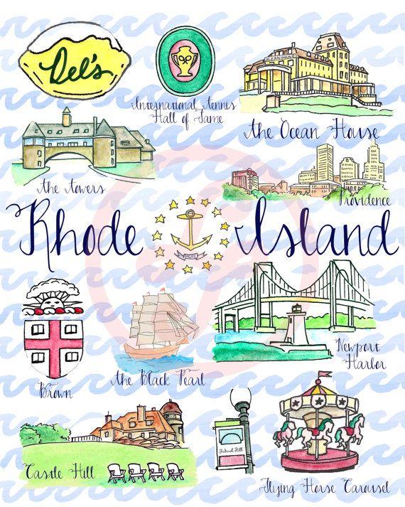 Original Rhode Island State Art Watercolor by PureJoyPaperie        #VisitRhodeIsland