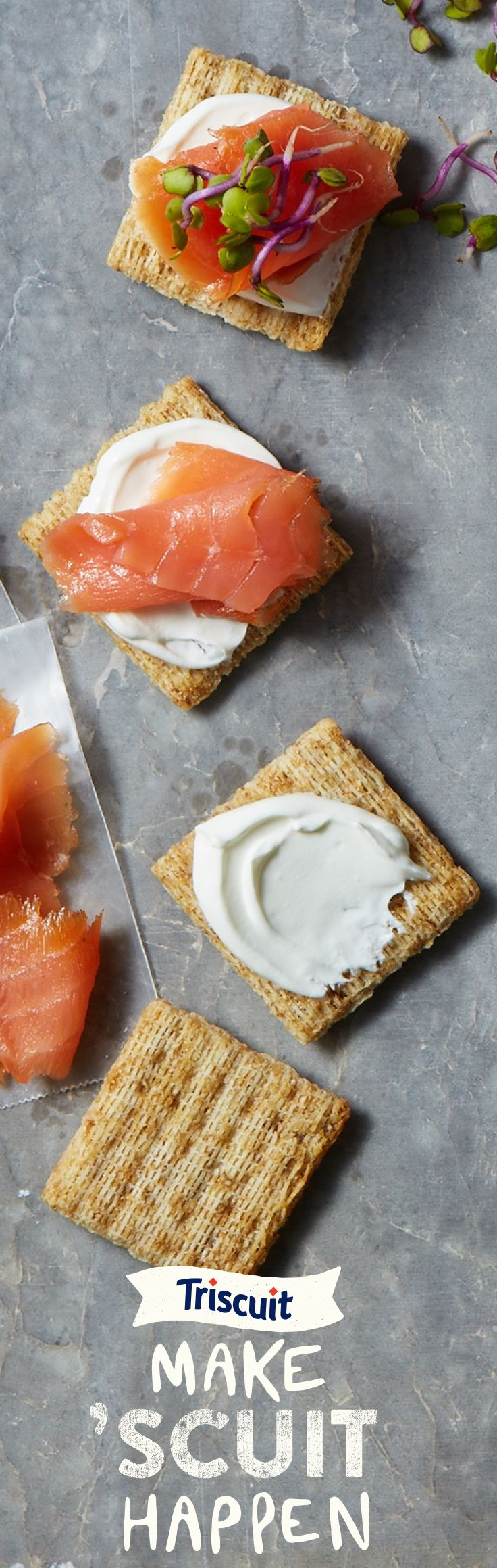 Snack at 100% without giving 100%. All it takes is sour cream, smoked salmon and sprouts on a TRISCUIT cracker.