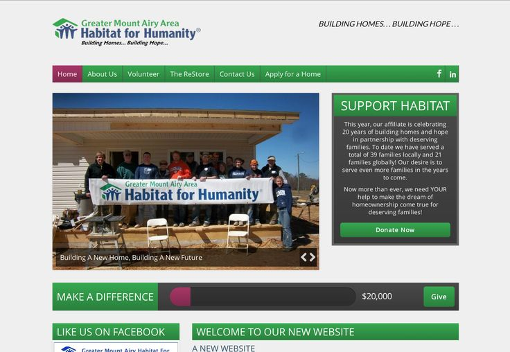 This was a redesign of the Mount Airy Habitat for Humanity website. It was also my first project using WordPress.
