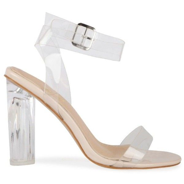 Ariana Strappy Sandal In Clear Perspex (150 PLN) ❤ liked on Polyvore featuring shoes, sandals, heels, strappy heel shoes, strap heel sandals, clear sandals, clear heel shoes and heeled sandals