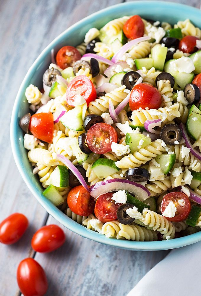 Greek Pasta Salad full of fresh veggies, pasta with an easy homemade vinaigrette | theblondcook.com