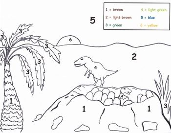 this fun and engaging dinosaur color by number worksheet supports preschool students learning. Black Bedroom Furniture Sets. Home Design Ideas