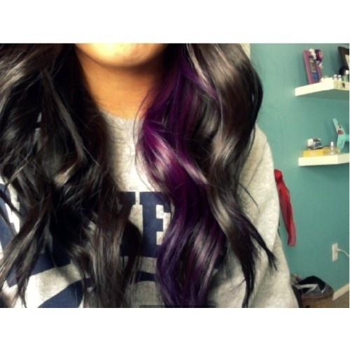 peekaboo purple streak on dark brown hair.... wont do it till after the wedding of course lol