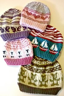 This pattern includes 8 color charts, 2 hat patterns, and 5 sizes (from baby all that way up to child)! The goal for this lovely little packet was to create a generator for some unique Fair Isle hats that could be adapted for all children—boy, girl, baby, or toddler!