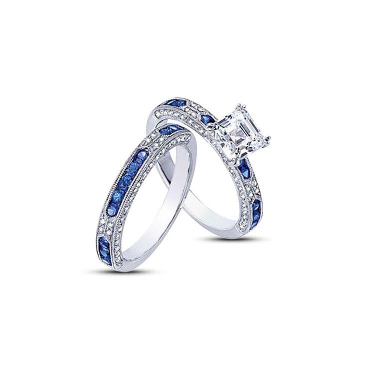 14K White Gold FN 925 Silver Princess Cut Sim Diamond Engagement Bridal Ring Set #br925 #BridalRingSet
