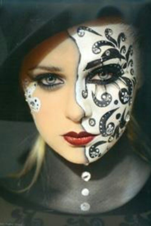 Painted face mask Body paint Pinterest Masks - Black And White Halloween Face Paint Ideas