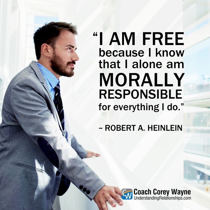 """#robertheinlein #american #sciencefiction #philosophy #freedom #responsibility #selfreliance #morality #ethics #values #decisions #coachcoreywayne #greatquotes Photo by iStock.com/GaudiLab """"I am free because I know that I alone am morally responsible for everything I do."""" ~ Robert Heinlein"""