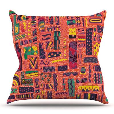 East Urban Home Squares by Akwaflorell Outdoor Throw Pillow