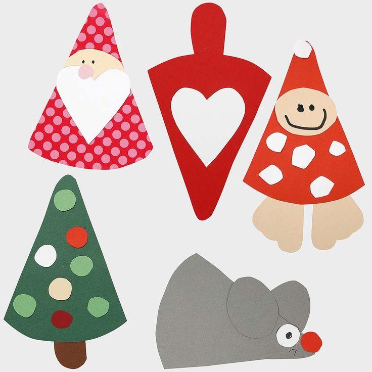 Papirklip til jul efter fleksibel skabelon: julemand, juletræ og julemus