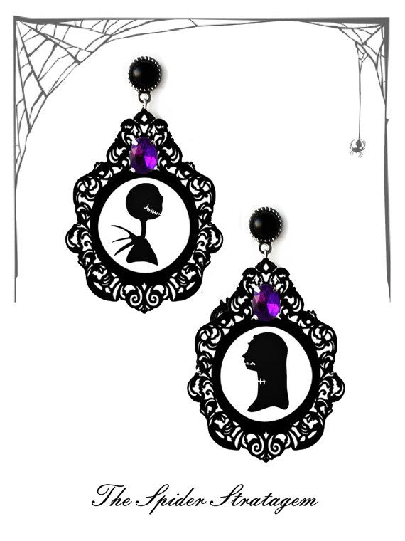 Gothic victorian earrings 'Jack and Sally' goth tim burton nightmare before christmas