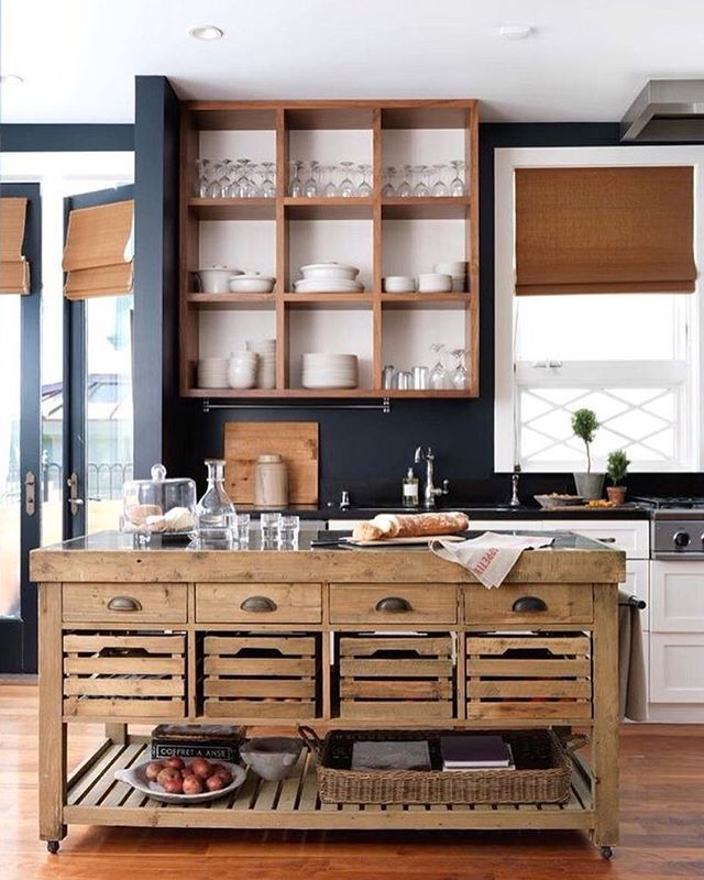 Rustic Kitchen | Natural Wood | Navy Blue