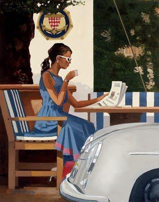 Jack Vettriano | Girl | Blue dress | Coffee | Newspaper | Morning