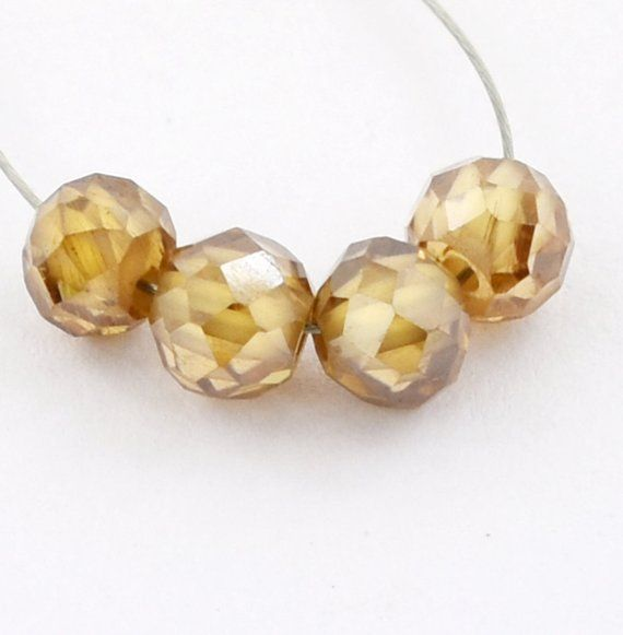 5mm Round Checker Cut Champagne Diamond Drilled Loose Beads for Making Jewelry 3.20 Cts Sale 4 pc