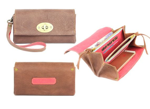Luxury leather wallet / wristlet / clutch / phone case / cosmetic bag / cover / purse / evening bag in brown and pink brass zip turn lock