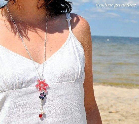 Collier Mi long Court Reglable Fleur Resine Blanc Tissu Noir ZR 2