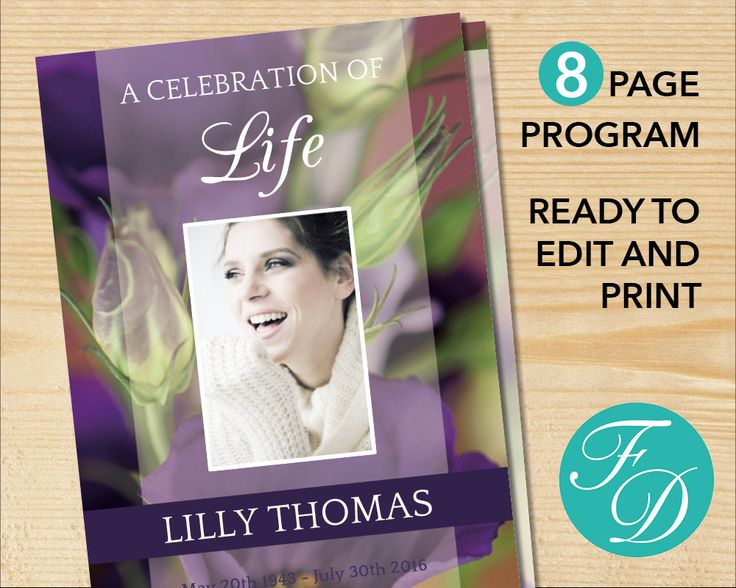 191 best 8 Page Funeral Program Templates images on Pinterest - funeral service template word