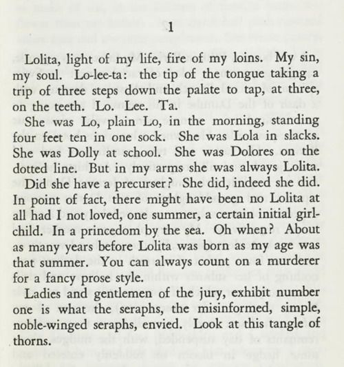 Vladimir Nabokov, Lolita at first sight, at last sight, at ever and ever sight.