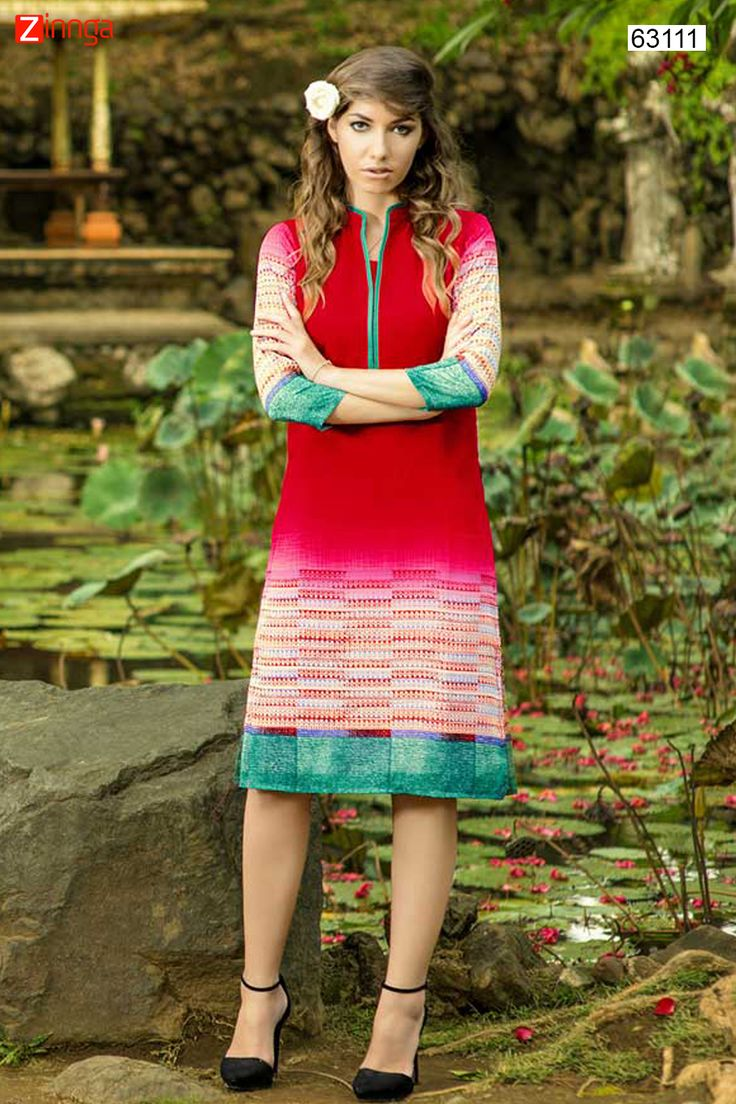 White & Red Color with Printed Work Incredible Readymade Kurti. Message/call/WhatsApp at +91-9246261661 or Visit www.zinnga.com