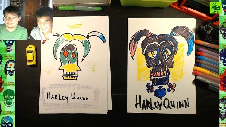 Как нарисовать Харли Квинн (лого) из Отряд Самоубийц