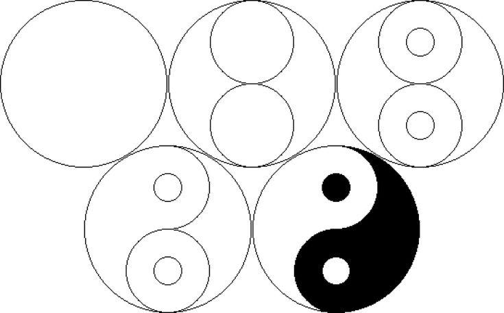 pasos para dibujar el yin yang