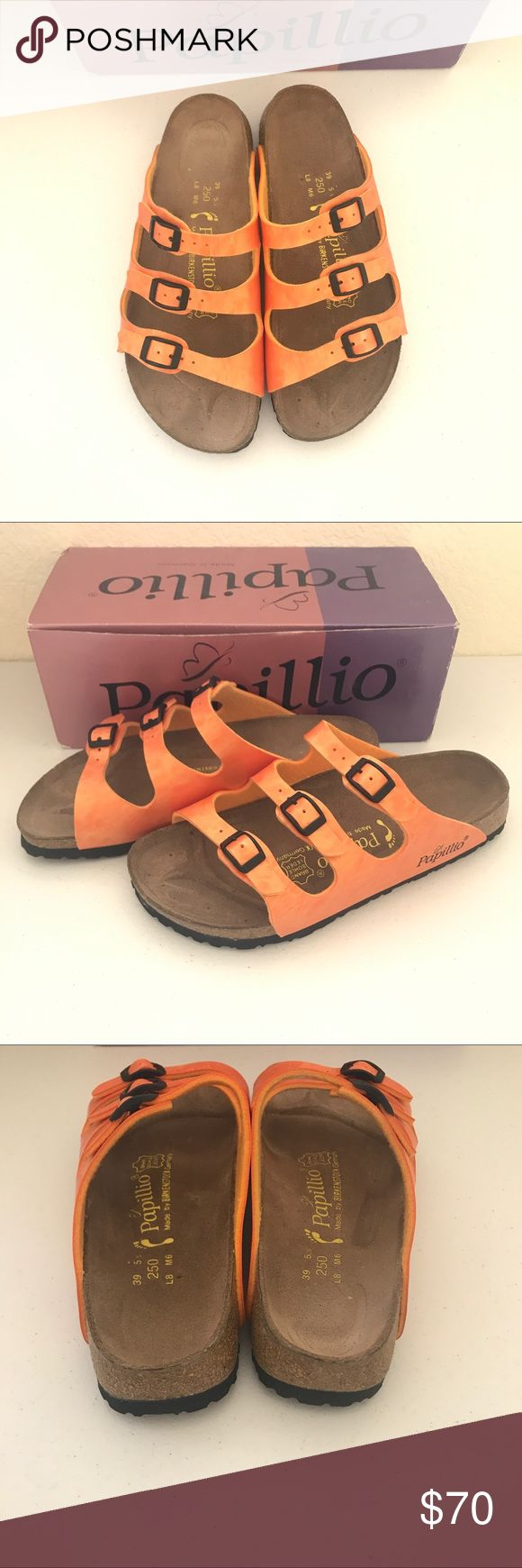 Birkenstock Papillio Florida New in box Papillio by Birkenstocks. Style Florida. leather footbedliner, natural cork footbed, birko-flor upper, EVA sole. Triple strap eye catching bright orange  size 39. Small scratch on inner  of right side shoe but otherwise awesome condition. Birkenstock Shoes Sandals