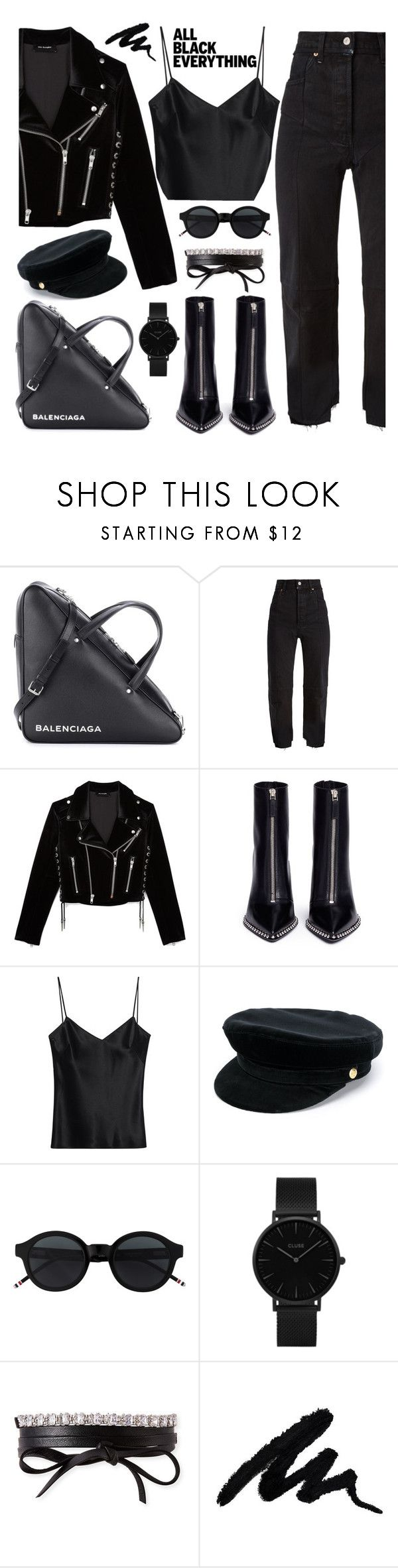 """Black is my happy color ☺"" by mairytaken ❤ liked on Polyvore featuring Balenciaga, Vetements, The Kooples, Alexander Wang, Galvan, Manokhi, CLUSE, Fallon and allblackoutfit"