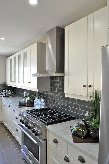 Gray Subway Tile Backsplash For The Kitchen White Cupboards Gray Tile Backsplash And