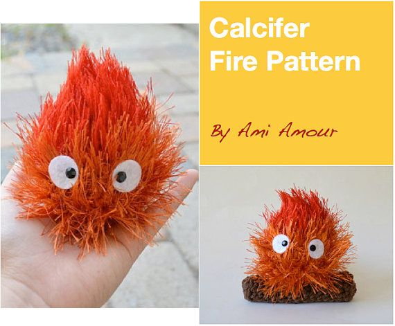 Calcifer pattern fire amigurumi crochet PDF by amiamour on Etsy, $4.00