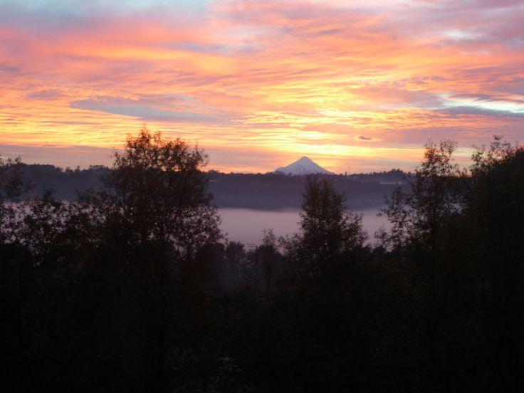 Volcán Osorno y niebla sobre río Maullín al amanecer, región de los lagos, Chile.