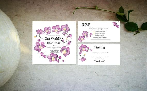 Minimal purple orchids wedding invitation set template