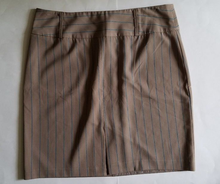 Womens Plus Size Pinstripe Skirt- size 20 -  Metrostyle Stretch - Beige and Blue Wear to work, plus size work fashion, chic, teal, turquoise stripes, plus size pencil skirt