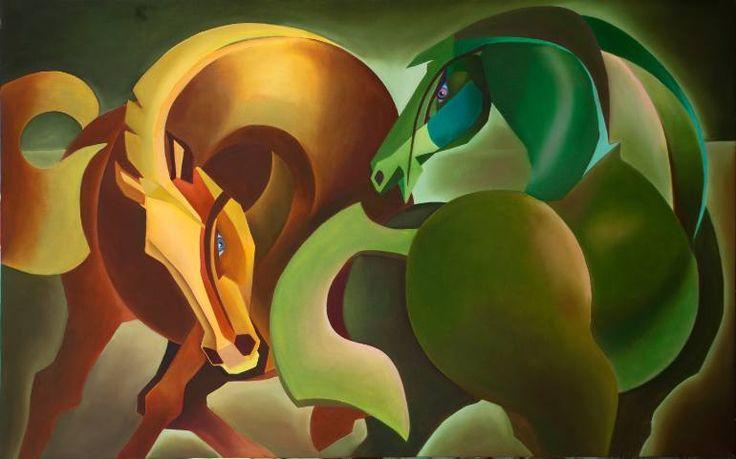 "Saatchi Art Artist Trilochan Anand; Painting, ""harmony horses "" #art"