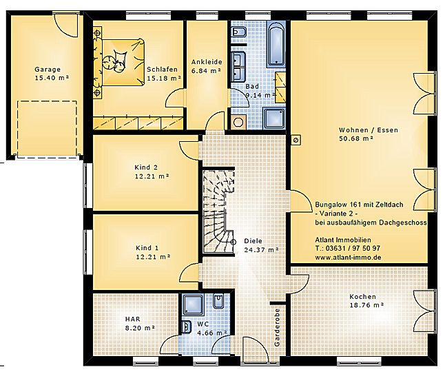 Bungalow 161 mit Zeltdach Einfamilienhaus Neubau Massivbau