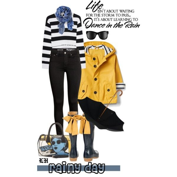 Puddle Jumper: Rainy Day Outfit! by lheijl on Polyvore featuring rag & bone, Prada, Chanel, WALL and rainydayoutfit