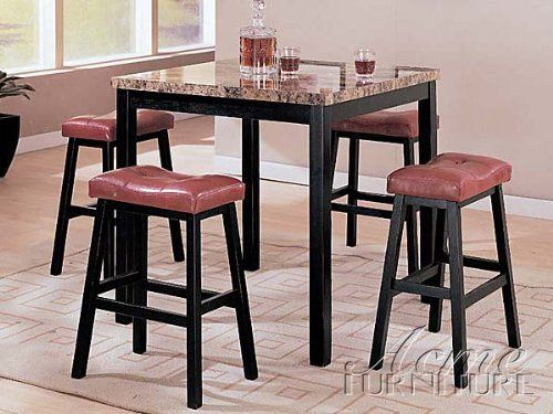 Acme Furniture 06046 Portland 5 PC Counter Height Dining Set With Brown Faux Marble Table Top And Tufted Padded Stool Cushions In Black Finish