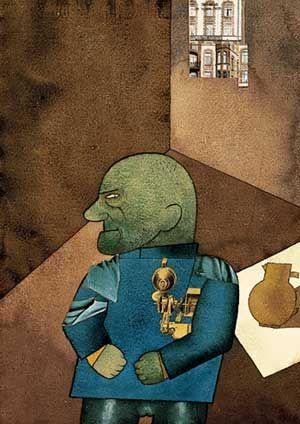 George Grosz (1893-1959) Hij stelde op karikaturale wijze het militarisme, de schijnheilige burgerlijke moraal en de ontreddering in de grootstedelijke samenleving aan de kaak, de schrijnende contrasten in de Weimarrepubliek: vette burgers en werklozen, rechters en prostituees, priesters en moordenaars, generaals en arme soldaten. De stijl is elementair en bijtend . Vanwege het nietsontziende realisme wordt zijn werk tot de Nieuwe Zakelijkheid gerekend.-1920