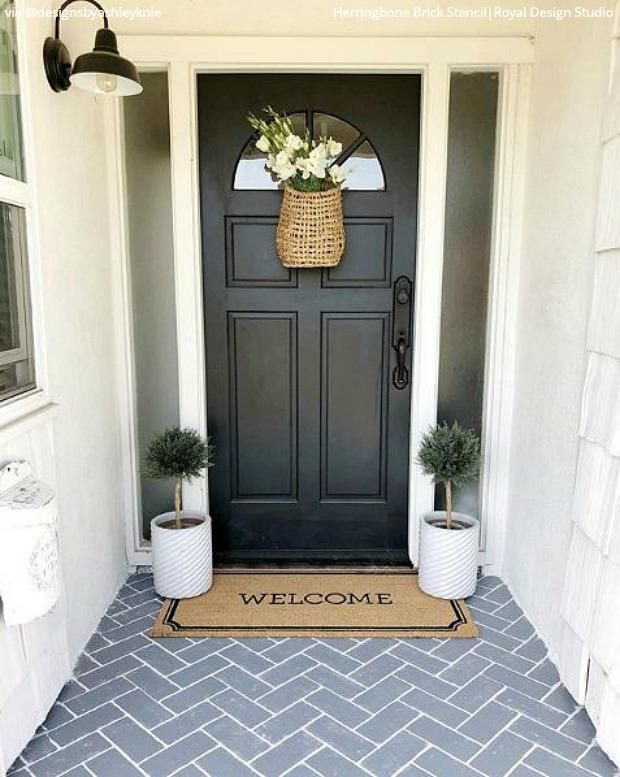 Herringbone Brick Wall Stencil Painted Concrete Porch Painted Front Porches Patio Flooring
