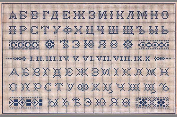 vintage cyrillic stitching alphabet