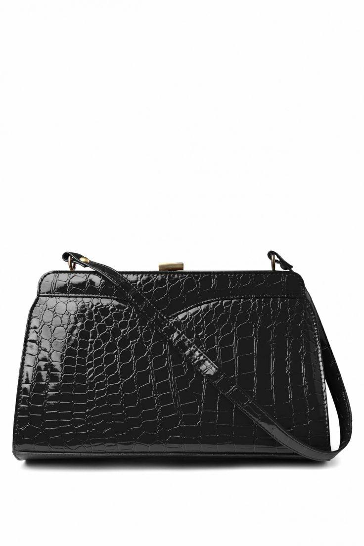 Retrolicious - 50s Scarlet hand bag croc black