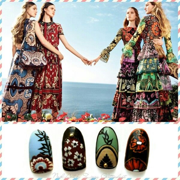 Ziggy Glitterdust nail art, inspired by Valentino ss2015 collection, fashion inspired nail art, flowered nails, colorful