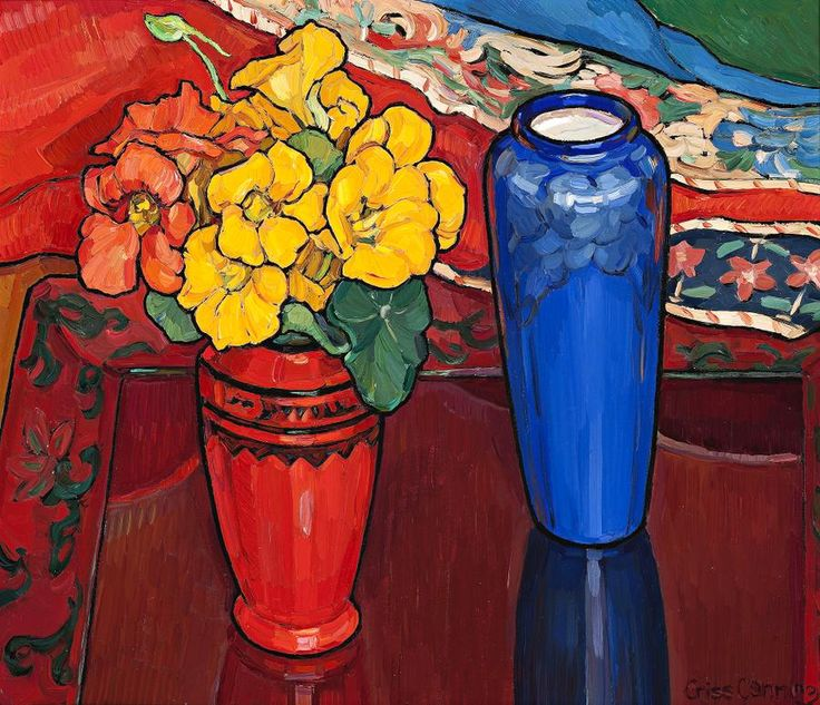 Criss Canning (1947-) - Nasturtiums, Iris and Blue Vase